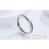 Strasszos ezüst gyűrű, pink, 8-as méret