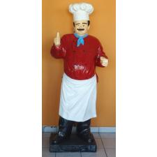 Szakács-táblával/180 cm/laminált/piros inges-bajuszos üzletberendezés, dekoráció