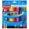 SZÍNES ceruza készlet, háromszögletű, MAPED Color`Peps, 24 különböző szín (183224)