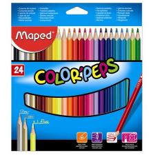 SZÍNES ceruza készlet, háromszögletű, MAPED Color`Peps, 24 különböző szín (183224) színes ceruza