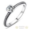 Szív ezüst gyűrű, Fehér, 7