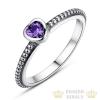 Szív ezüst gyűrű, Lila, 8