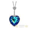 Szív mintás nyaklánc, Kék, Swarovski köves