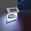 Szolár házszámfény rozsdamentes acélból, 18x20 cm