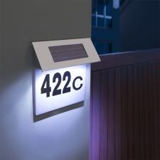 Szolár házszámfény rozsdamentes acélból, 18x20 cm kültéri világítás