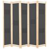 Szürke 5-paneles szövetparaván 200 x 170 x 4 cm