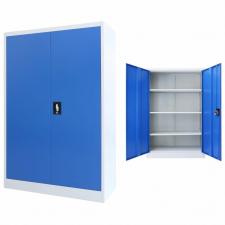 szürke/kék fém irodaszekrény 90 x 40 x 140 cm irodabútor