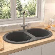 Szürke ovális gránit duplamedencés konyhai mosogató barkácsolás, csiszolás, rögzítés