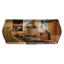 . Tálca, szögletes, műanyag, kávéház mintás, 33x14,5 cm konyhai eszköz