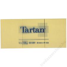 TARTAN Önatapadó jegyzettömb, 38x51 mm, 100 lap, 12 tömb/cs, TARTAN, sárga (LPT5138) jegyzettömb