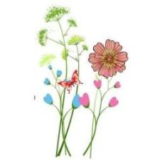tavaszi virágok pillangó matrica