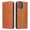 Telealk Iphone 12 / 12 Pro oldalra nyíló bőr flip tok, zsebekkel és mágneszárral (barna)