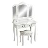 TEMPO KONDELA Fésülködőasztal ülőkével fehér/ezüst, REGINA