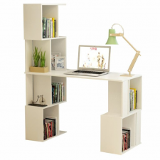 Tempo PC asztal könyvespolccal, fehér, FLOKI NEW irodabútor