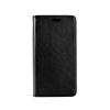Tok, mágneses oldalra nyíló műbőr flip tok, Microsoft Lumia 650, fekete, (szilikon belsővel), csomagolás nélküli