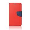 Tok, Telone Fancy oldalra nyíló flip tok, szilikon belsővel, Huawei Honor 5X, piros-kék, csomagolás nélküli