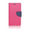 Tok, Telone Fancy oldalra nyíló flip tok, szilikon belsővel, Huawei Honor 8, rózsaszín-kék, csomagolás nélküli