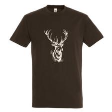 TOP kereknyakú póló szarvasfej mintával, 100% pamut, 190gr/m2, barna férfi póló