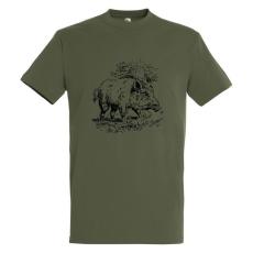 TOP kereknyakú póló vaddisznó mintával, 100% pamut, 190gr/m2, katonai zöldesbarna