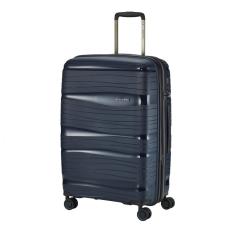 TRAVELITE MOTION M kék négykerekű bővíthető extra könnyű közepes bőrönd