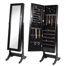 Tükrös ékszertartó szekrény, fekete bútor