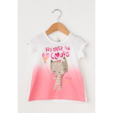 United Colors of Benetton Girls Gradient Pink&White T-SHirt With Front Print (3096C150P-101-1Y)