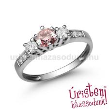 Úristen, házasodunk! E18FZR_B - RÓZSASZÍN ZAFÍR - GYÉMÁNT köves fehér arany Eljegyzési Gyűrű gyűrű