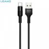 USB töltő- és adatkábel, USB Type-C, 120 cm, törésgátló, cipőfűző minta, Usams U5, fekete, US-SJ221_B