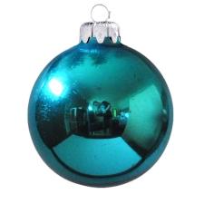 Üvegkarácsonyfadíszek Fényes türkiz kék gömb 8cm-es 6db karácsonyi dekoráció