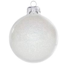 Üvegkarácsonyfadíszek Flitteres fehér gömb 8cm-es 6db karácsonyi dekoráció