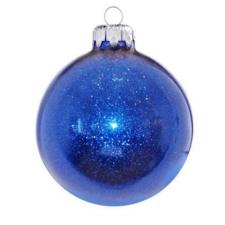 Üvegkarácsonyfadíszek Flitteres kék gömb 8cm-es 6db karácsonyi dekoráció