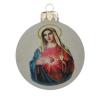 """Üvegkarácsonyfadíszek """"Mária szíve"""" fényes fehér üveggömbön, 8 cm-es"""