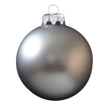 Üvegkarácsonyfadíszek Matt acél szürke gömb 6cm-es 6db karácsonyi dekoráció