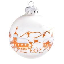Üvegkarácsonyfadíszek Matt fehér üveggömb, havas faluval, 10 cm-es karácsonyi dekoráció