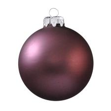 Üvegkarácsonyfadíszek Matt sötét mályva gömb 8cm-es 6db karácsonyi dekoráció