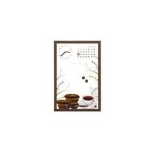 Üzenőtábla órával és naptárral, 30x45 cm, barna keret felírótábla