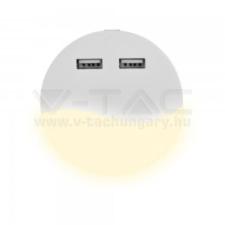 V-tac LED éjszakai jelzőfény SAMSUNG CHIP alkonykapcsolóval kerek forma USB-vel 3000K - 505 villanyszerelés