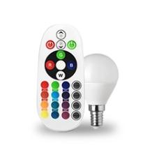 V-tac LED lámpa E14 (3.5W/180°) Kisgömb - RGB+CW+RF távirányítható izzó