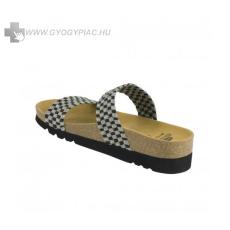 !Választható ajándékkal! Scholl Kaory szürke-fekete bioprint női papucs - kényelmi modell 36- 41
