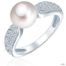 ValeroPearls ValeroGyöngys gyűrű Sterling ezüst Süßwasser-ZuchtGyöngy Fehér cirkónia Fehér gyűrű 60