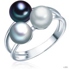 ValeroPearls ValeroGyöngys gyűrű Sterling ezüst Süßwasser-ZuchtGyöngynszürke / ezüstszürke / Kék gyűrű 58 gyűrű