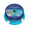 Verbatim CD-R lemez, nyomtatható, matt, ID, 700MB, 52x, hengeren, VERBATIM (CDV7052B25N)
