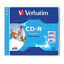 Verbatim CD-R lemez, nyomtatható, matt, ID, AZO, 700MB, 52x, normál tok, írható és újraírható média