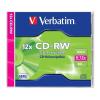 Verbatim CD-RW lemez, újraírható, SERL, 700MB, 8-12x, normál tok,