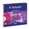 Verbatim DVD+R lemez, színes felület, AZO, 4,7GB, 16x, vékony tok, VERBATIM