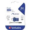 """Verbatim Pendrive, 64GB, USB 3.0+USB-C adapter, VERBATIM, """"DUAL"""""""
