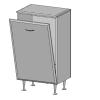 Vertex Rómeó alacsony szekrény 45 cm szennyestartós, magasfényű fehér színben