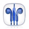 Vezetékes sztereó fülhallgató, Apple készülékekhez, 3.5 mm, felvevőgombos, dobozos, kék
