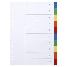 VICTORIA Regiszter, műanyag, A4, 10 részes, VICTORIA, színes irattartó