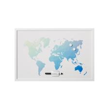 """VICTORIA Üzenőtábla, mágneses, 60x40 cm, fehér keret,  VICTORIA, """"Világtérkép"""" térkép"""